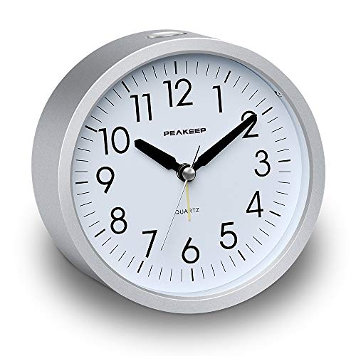(Peakeep 4 inches Round Silent Analog Alarm Clock Non Ticking, Gentle Wake, Beep Sounds, Increasing Volume, Battery Operated Snooze and Light Functions, Easy Set (Silver))