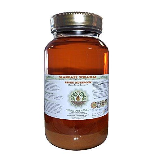 Reishi Alcohol-FREE Liquid Extract - Tonic of Emperors, Organic Reishi Mushroom (Ganoderma Lucidum) Dried Mushroom Glycerite Natural Herbal Supplement, Hawaii Pharm, USA 32 fl.oz by HawaiiPharm