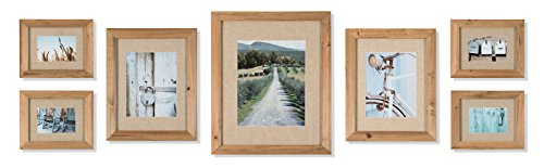 (Gallery Perfect 7 Piece Wall Natural Linen Decorative Art Prints 7 PC Rustic Wood Frame Kit with Fabric Mat, Piece)