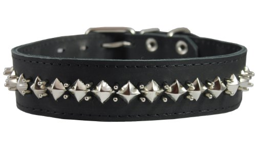 Dogs My Love Thick Genuine Leather Spiked Studded Dog Collar Black Sized to Fit 18