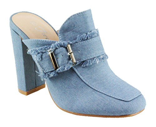 Forever Women's Forest-43 Denim Upper Square Toe Slip-on Block High Heel Mule Shoes (9, Light Denim) (Heel Denim Mule)