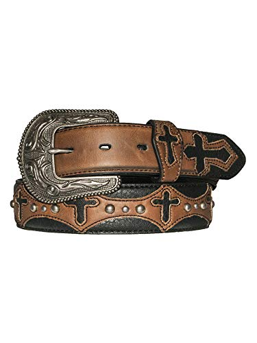 Silver Canyon Western Belt with Two-Tone Cross Cutout Overlay and Studs, 38