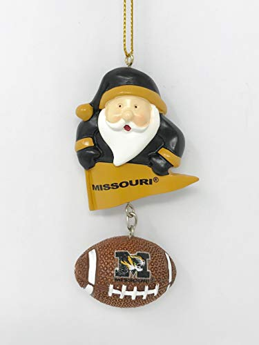 Missouri Tigers Santa & Football Christmas Tree Ornament - Officially Licensed