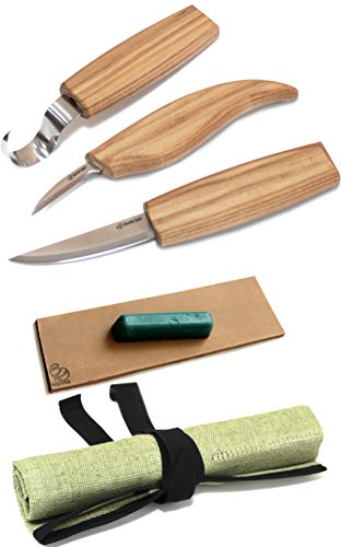 BeaverCraft, Wood Carving Tools Set for Spoon carving 3 Knives in Tools Roll Leather Strop and Polishing Compound Hook Sloyd Detail Knife