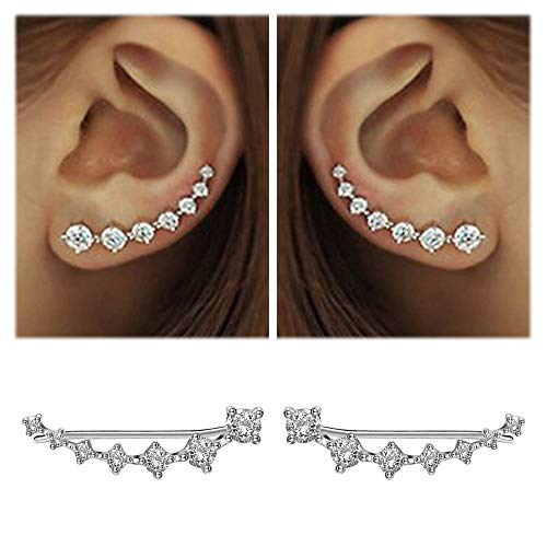 7 Crystals Ear Cuffs Hoop Climber S925 Sterling Silver Earrings Hypoallergenic Earring (White) (Authentic Tiffany & Co Jewelry)