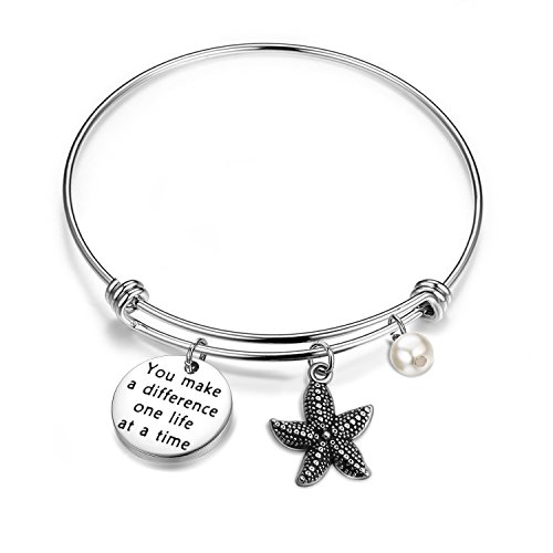 bobauna You Make A Difference One Life at A Time Starfish Bracelet Appreciation Gift for Volunteer Social Worker (Make Difference Bracelet)