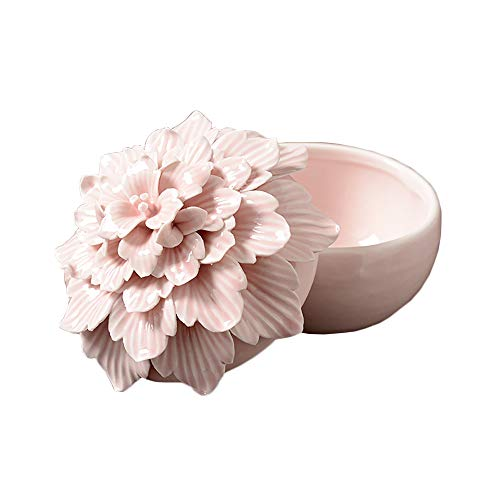 (ALYCASO Handmade Ceramic Flower Retro Jewelry Box for Woman Room Decor Storage Gift Peony Pink)