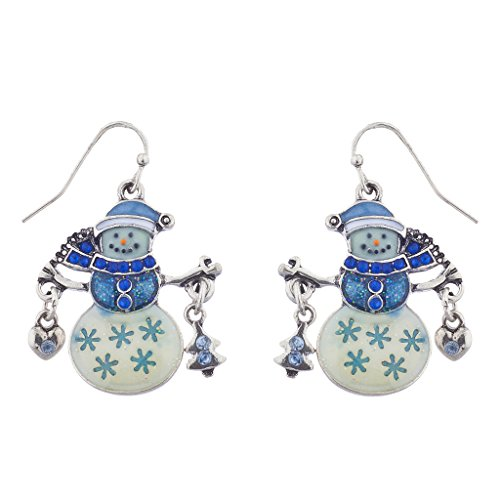 Lux Accessories Silver Tone Christmas Xmas Blue Snowman Novelty Dangle Earrings