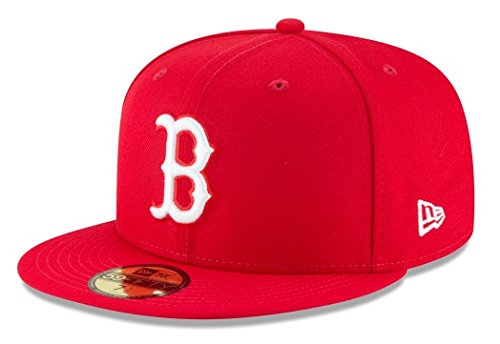 New Era Mens MLB Basic Boston Red Sox 59fifty Fitted Cap, Scarlet, 7 1/2