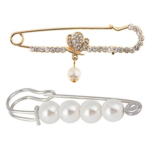 Homyl 2 Pcs Women Silver&Gold Charm Rhinestone Pearl Dangle Brooches Pin Elegant Faux Pearl Safety Pin (Pin Faux Pearl)