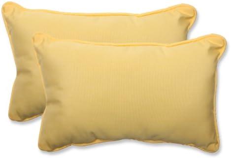 Pillow Perfect Outdoor Indoor Sunbrella Canvas Buttercup Lumbar Pillows, 11.5 x 18.5 , Yellow, 2 Pack