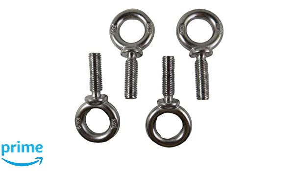 4 Pieces Stainless Steel 316 1//4 Lifting Eye Bolt 1//4 UNC Marine Grade