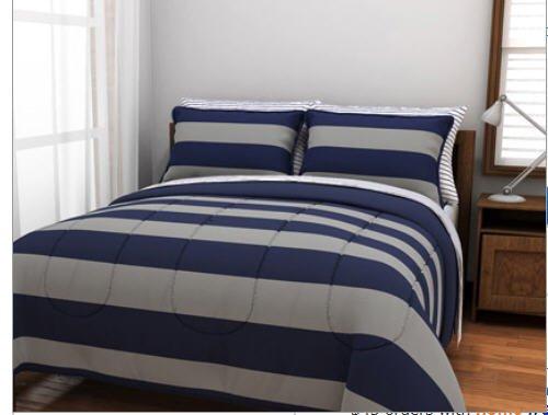 . Amazon com  Blue   Gray Stripes  Teen Boys Queen Comforter Set  7