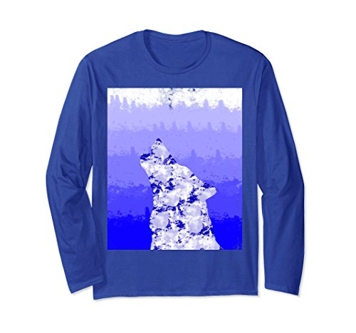 Unisex Wolf Shirt Blue Watercolor gradiant animal nerdy geeky long Medium Royal - Gradiant Blue