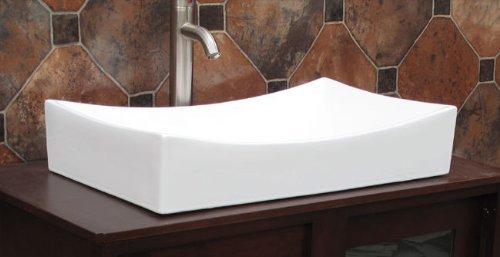 Bathroom Rectangular Ceramic Porcelain Vessel Vanity Sink 7235-(Included Chrome Pop Up Drain with no overflow)
