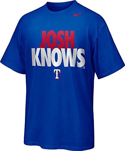 Nike Men's Texas Rangers MLB Josh Knows Hamilton Player T-Shirt (XL, Blue)