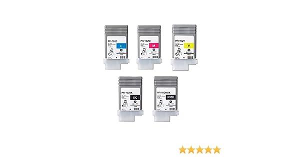 XL-Ink Compatible con Canon PFI-102 / PFI102 (MBK/BK/C/M/Y) 5 Unidades: Amazon.es: Electrónica