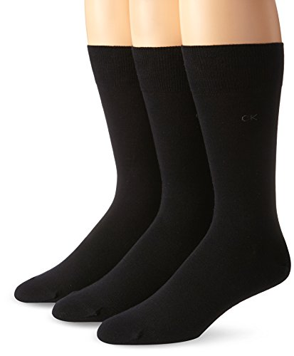 Calvin Klein Men's 3 Pack Combed Flatknit Socks, Black, Sock Size: 10-13/Shoe Size:9-11