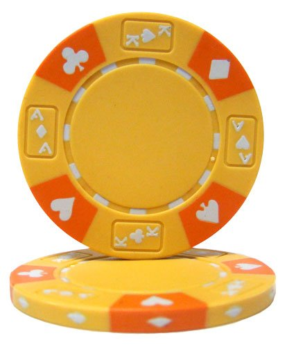 (Brybelly Holdings CPAK-YELLOW-25 Roll of 25 - Yellow - Ace King Suited 14 Gram Poker Chips)
