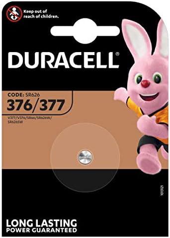 Duracell SR66/SR626/V377/V376/SR626W/SR626SW - Pilas especial de óxido de plata 377/376 de 1,55V, paquete de 1 unidad, diseñadas para su uso en relojes, calculadoras y dispositivos médicos