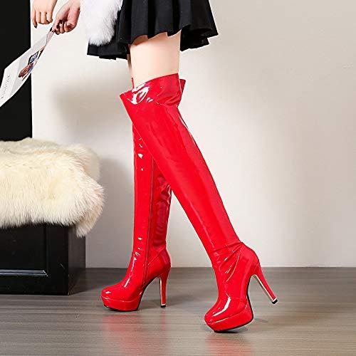 Stivali |Piattaforma Impermeabile sulle Ginocchia |Europa e sulle Stati Uniti tallonano sulle e Ginocchia |Ultra Alta Moda con Stivali Oversize per Donna Red f4a45b