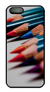 iPhone 5S Case and Cover -Colored pencils macro PC case Cover for iPhone 5 and iPhone 5s ¨CBlack