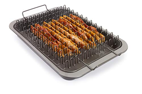 EaZy MealZ EZA-100B2 Perfectly Crisp, Less Fat, Nonstick Bacon Drip Rack + Bake Pan for oven, oberdome plus, BBQ, BBQ, Gray