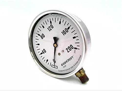ASHCROFT 10-1008-AL-02L-200-PSI Pressure Gauge, 0 to 200 PSI, 4IN