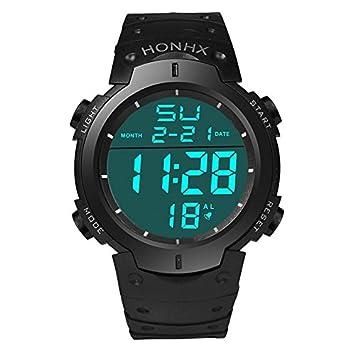 WMWMY Reloj Digital LCD de Hombres Deportes Impermeable Reloj Deportivo Reloj de Caucho Lujo Hombre Fecha Reloj Temporizador, Negro: Amazon.es: Electrónica
