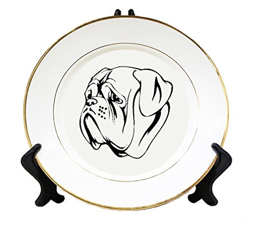 Dogue De Bordeaux Head Black Ceramic Plate with Gold Trim
