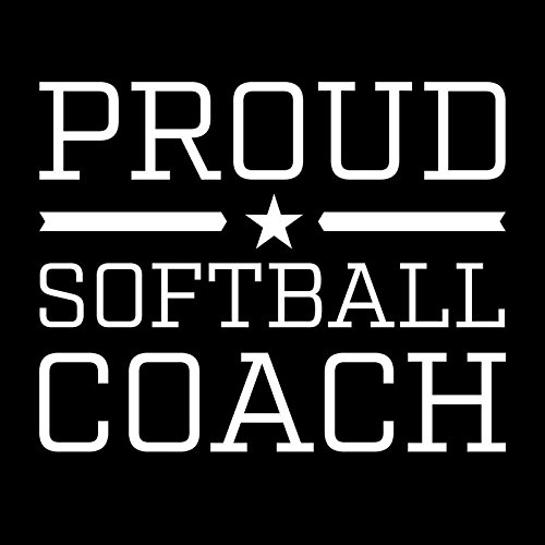 (Proud Softball Coach Star Vinyl Decal Sticker | Cars Trucks Vans Windows Walls Cups Laptops | White | 5 X 3.9 Inches | KCD2011)
