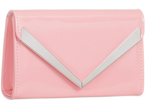 Wedding Baby Purse Bag Ladies Clutch ZES Party Evening Pink Prom Hand Plain Patent qCPwvxEf