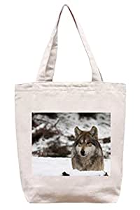 Lobo solitario–algodón Canvas Tote Bag