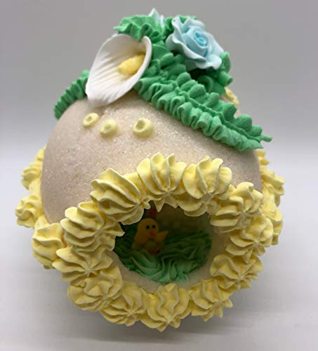 Panoramic Sugar Egg Handcrafted Christian Easter Sugar Egg Decoration - Large Decorative Yellow