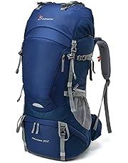 MOUNTAINTOP 55L Erwachsene Trekkingrucksäck Wanderrucksack Rucksack für Reisen Outdoor Klettern Camping mit Regenhülle (Schwarz-55L)