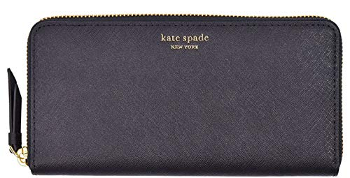 Kate Spade New York Cameron Saffiano Leather Zip Around Large Continental Wallet Black - Leather Cameron