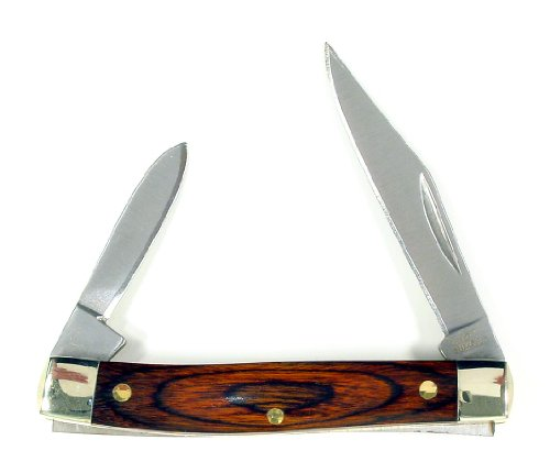 RUKO 2-3/4-Inch 2-Blades Pakkawood Handle Pocket Knife, TSA Airport Ready - Handle Blade Pakkawood