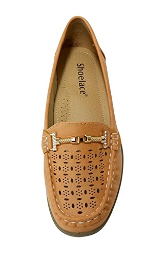 Shoes Perforated Moccasin Soft Faux Leather 02 On Shoelace camel WIWI Loafer Buckles Slip Womens TpfwWqv