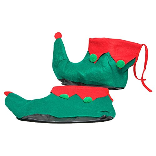 Elf Adult Unisex Shoes (Rubie's Adult Elf Shoes, Green/Red, One Size)