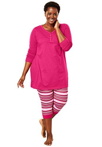 (Dreams & Co. Women's Plus Size Capri Legging Pj Set - Pink Burst, 3X)