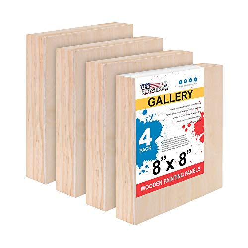 U.S. Art Supply 8 x 8 Birch Wood Paint Pouring Panel Boards, Gallery 1-1/2 Deep Cradle (Pack of 4) - Artist Depth Wooden Wall Canvases - Painting Mixed-Media Craft, Acrylic, Oil, Encaustic