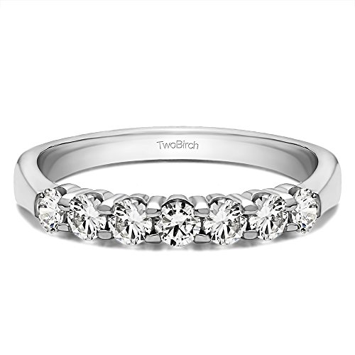 TwoBirch Sterling Silver Seven Stone Shared Prong Tapered Shank Wedding Ring with Cubic Zirconia (0.7 ct. tw.)