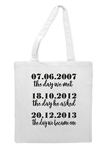 We White Tote The Day Engagement Bag Wedding Party Met Gift Shopper FZaRqZnT