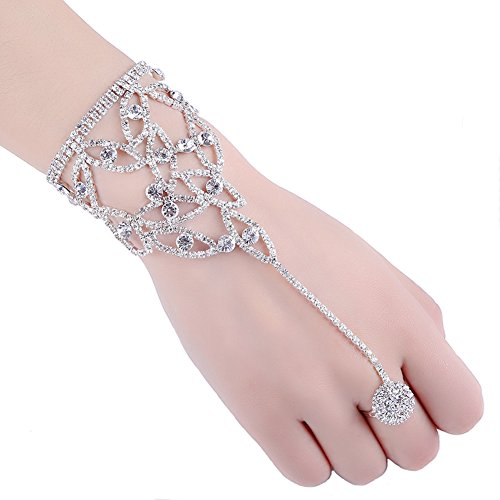 2 Pcs Fashion Women Girl Rhinestone Hand Harness Bracelet Bangle Slave Chain Link Finger Ring Bracelet (Pattern B)
