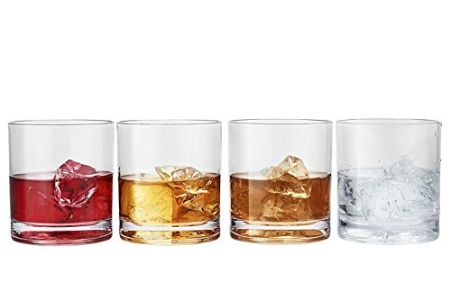 Modern Innovations 12 Ounce San Double Old Fashioned Whiskey Tumbler Set of 4-- Restaurant Quality BPA-Free, Break Resistant, Dishwasher Safe Acrylic Drinking Glasses and Whiskey Glass Set