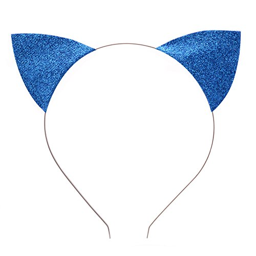 BAOBAO Glitter Cat Ears Baby Girls Kids Toddler Headband Hairband Hair Hoop Cosplay(Blue) - Blue Cat Ears