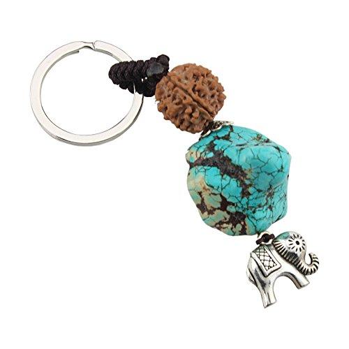 FOY-MALL Natural Six Petals Vajra Bodhi Turquoise Howlite with Elephant Car Keyrings P1000 (Key Petals)