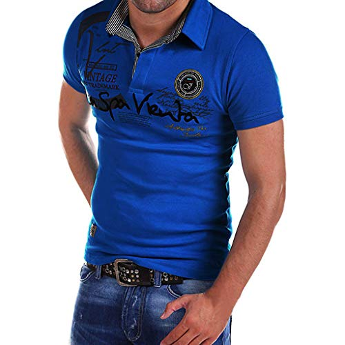 Sunmoot 2019 Newest Polo Shirt for Mens Slim Fit Spring Summer Letter Print Short Sleeve T-Shirt Blouse Tops Blue]()