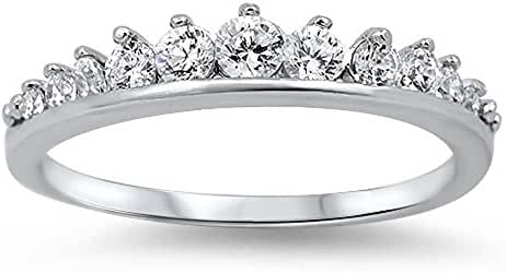 Cubic Zirconia Journey Tiara Ring Sterling Silver Size 15