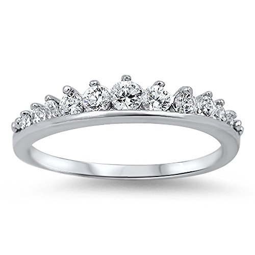 Cubic Zirconia Journey Tiara Ring Sterling Silver Size 7
